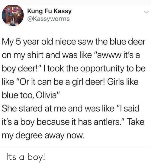 """kung fu: Kung Fu Kassy  @Kassyworms  My 5 year old niece saw the blue deer  on my shirt and was like """"awww it's a  boy deer!"""" I took the opportunity to be  like """"Or it can be a girl deer! Girls like  blue too, Olivia""""  She stared at me and was like """"I said  it's a boy because it has antlers."""" Take  my degree away now Its a boy!"""