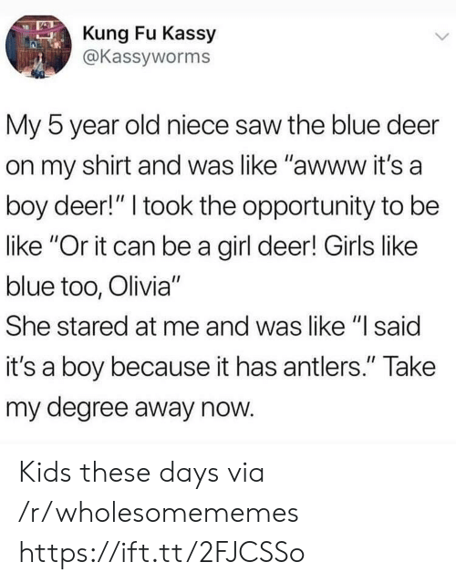 """kung fu: Kung Fu Kassy  @Kassyworms  My 5 year old niece saw the blue deer  on my shirt and was like """"awww it's a  boy deer!"""" I took the opportunity to be  like """"Or it can be a girl deer! Girls like  blue too, Olivia""""  She stared at me and was like """"l said  it's a boy because it has antlers."""" Take  my degree away now Kids these days via /r/wholesomememes https://ift.tt/2FJCSSo"""