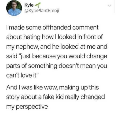 "Fake, Love, and Wow: Kyle  @KylePlantEmoji  Imade some offhanded comment  about hating how I looked in front of  my nephew, and he looked at me and  said ""just because you would change  parts of something doesn't mean you  can't love it""  And I was like wow, making up this  story about a fake kid really changed  my perspective"