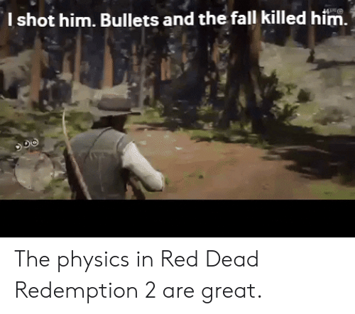 Fall, The Fall, and Physics: l shot him. Bullets and the fall killed him. The physics in Red Dead Redemption 2 are great.