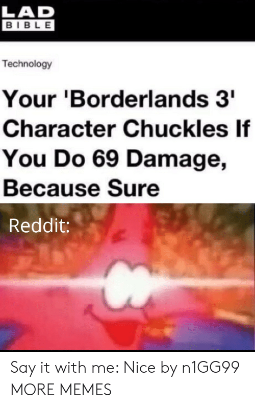 Dank, Memes, and Reddit: LAD  BIBLE  Technology  Your 'Borderlands 3  Character Chuckles If  You Do 69 Damage,  Because Sure  Reddit: Say it with me: Nice by n1GG99 MORE MEMES