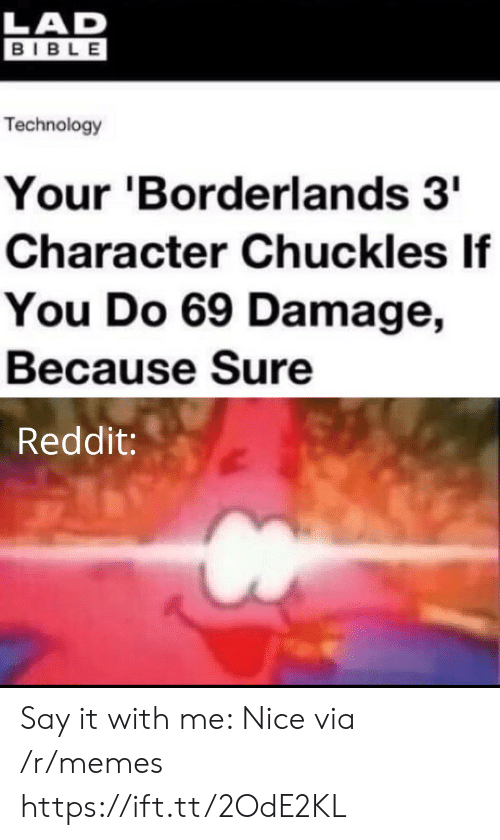 Memes, Reddit, and Say It: LAD  BIBLE  Technology  Your 'Borderlands 3  Character Chuckles If  You Do 69 Damage,  Because Sure  Reddit: Say it with me: Nice via /r/memes https://ift.tt/2OdE2KL