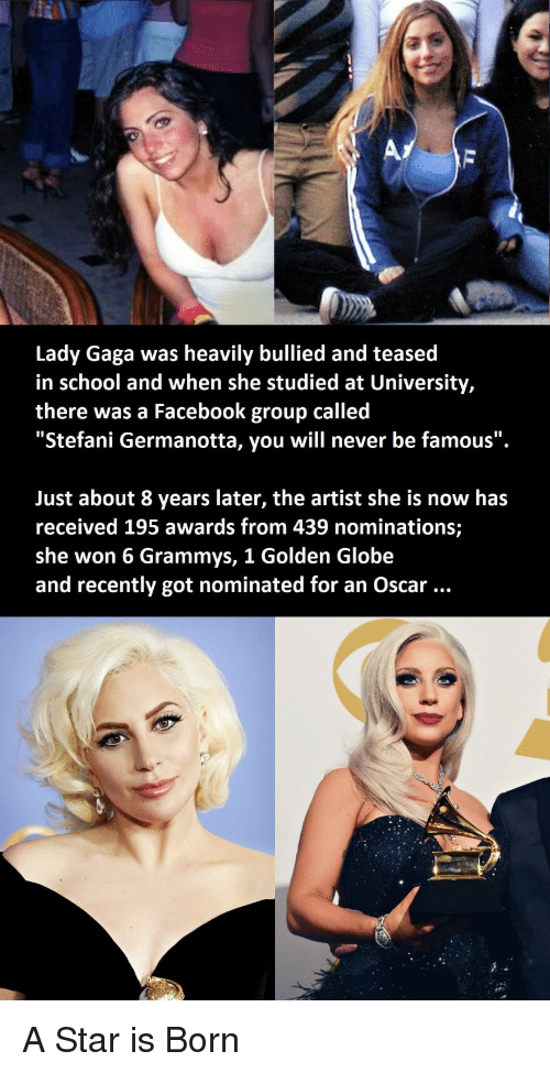 "Lady Gaga: Lady Gaga was heavily bullied and teased  in school and when she studied at University,  there was a Facebook group called  ""Stefani Germanotta, you will never be famous"".  Just about 8 years later, the artist she is now has  received 195 awards from 439 nominations;  she won 6 Grammys, 1 Golden Globe  and recently got nominated for an Oscar A Star is Born"