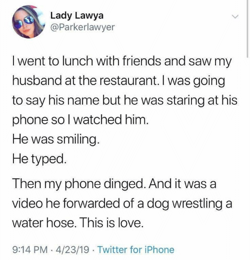 Friends, Iphone, and Love: Lady Lawya  @Parkerlawyer  Iwent to lunch with friends and saw my  husband at the restaurant. I was going  to say his name but he was staring at his  phone so I watched him.  He was smiling.  He typed  Then my phone dinged. And it was a  video he forwarded of a dog wrestling a  water hose. This is love.  9:14 PM 4/23/19 Twitter for iPhone