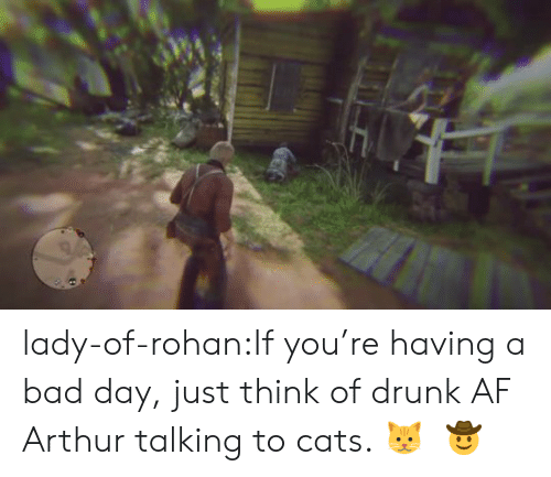Having A Bad Day: lady-of-rohan:If you're having a bad day, just think of drunk AF Arthur talking to cats. 🐱    🤠
