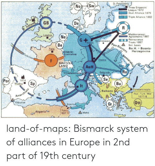 century: land-of-maps:  Bismarck system of alliances in Europe in 2nd part of 19th century