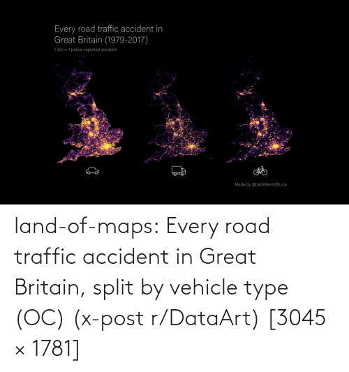 Every: land-of-maps:  Every road traffic accident in Great Britain, split by vehicle type (OC) (x-post r/DataArt) [3045 × 1781]