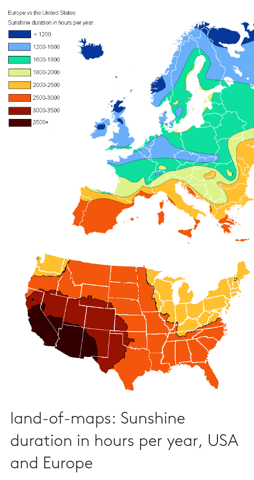 Per: land-of-maps:  Sunshine duration in hours per year, USA and Europe
