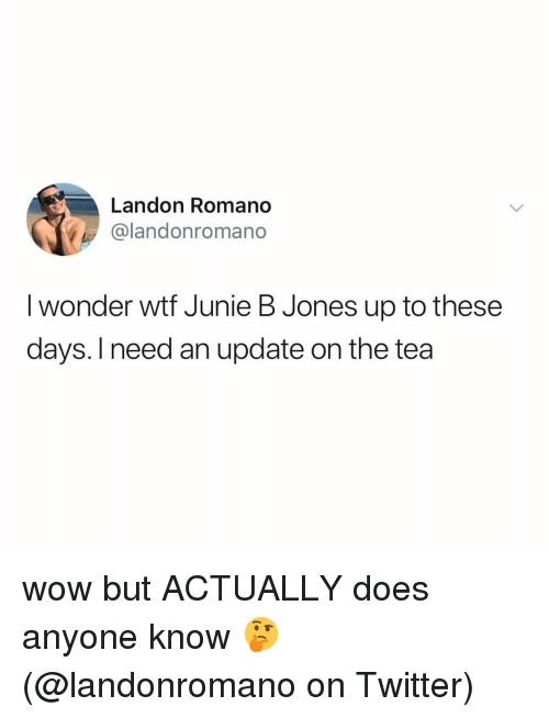 landon: Landon Romano  @landonromano  I wonder wtf Junie B Jones up to these  days. I need an update on the tea wow but ACTUALLY does anyone know 🤔 (@landonromano on Twitter)