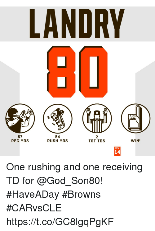 God, Memes, and Browns: LANDRY  57  REC YDS  54  RUSH YDS  2  TOT TDS  WIN!  WK  14 One rushing and one receiving TD for @God_Son80! #HaveADay #Browns  #CARvsCLE https://t.co/GC8lgqPgKF