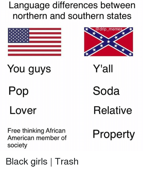 Drips: Language differences between  northern and southern states  0 drip-meme  Y'all  Soda  Relative  You guys  Pop  Lover  Free thinking African  American member of  society  Anerican membe ot Property Black girls | Trash