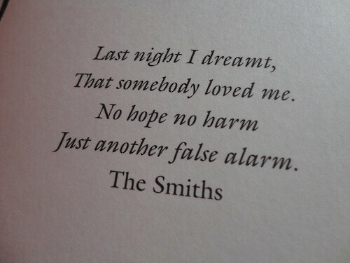 smiths: Last night I dreamt,  That somebody loved me.  No hope no harm  Just another false alarm.  The Smiths