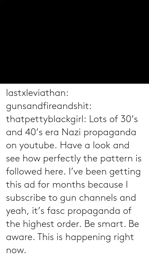 gun: lastxleviathan: gunsandfireandshit:  thatpettyblackgirl:   Lots of 30's and 40's era Nazi propaganda on youtube. Have a look and see how perfectly the pattern is followed here.     I've been getting this ad for months because I subscribe to gun channels and yeah, it's fasc propaganda of the highest order.   Be smart. Be aware. This is happening right now.