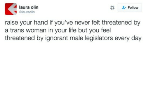 laura: laura olin  + Follow  @lauraolin  raise your hand if you've never felt threatened by  a trans woman in your life but you feel  threatened by ignorant male legislators every day