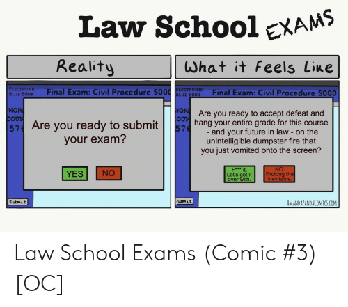 Law School: Law SchooleXAMS  Reality  What it Feels Line  ELECTRONIC  BLUE BODK Final Exam: Civil Procedure 5ELE ROFinal Exam: Civil Procedure 5000  WO  Are you ready to accept defeat and  57 Are you ready to subming your entire grade for this course  and your future in law - on the  unintelligible dumpster fire that  you just vomited onto the screen?  your exam?  NO  Prolong the  inevitable  F*** it  YES NO  Let's get it  over with  ubmA t  AMANDAPANDACOMICS.COM Law School Exams (Comic #3) [OC]