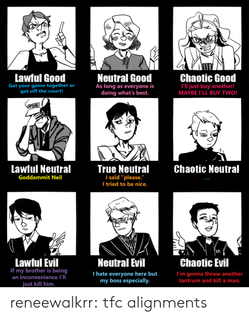 """court: Lawful Good  Neutral Good  As long as everyone is  doing what's best.  Chaotic Good  Get your game together or  get off the court!  I'll just buy another!  MAYBE I'LL BUY TWO!  PSU  Lawful Neutral  True Neutral  I said """"please.""""  I tried to be nice.  Chaotic Neutral  Goddammit Neil  'EA  Lawful Evil  If my brother is being  an inconvenience I'll  Neutral Evil  Chaotic Evil  T hate everyone here but  my boss especially.  I'm gonna throw another  tantrum and kill a man.  just kill him. reneewalkrr:  tfc alignments"""
