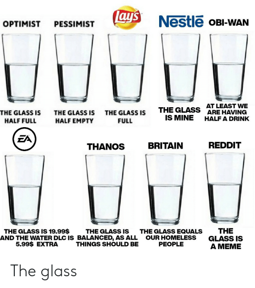 Homeless, Lay's, and Meme: Lay's  Nestle OBI-WAN  OPTIMIST  PESSIMIST  AT LEAST VWE  ARE HAVING  THE GLASS  IS MINE  THE GLASS IS  THE GLASS IS  THE GLASS IS  HALF A DRINK  HALF FULL  HALF EMPTY  FULL  EA  REDDIT  BRITAIN  THANOS  THE  GLASS IS  A MEME  THE GLASS IS 19.99$  THE GLASS IS  AND THE WATER DLC IS BALANCED, AS ALL  THINGS SHOULD BE  THE GLASS EQUALS  OUR HOMELESS  PEOPLE  5.99$ EXTRA The glass