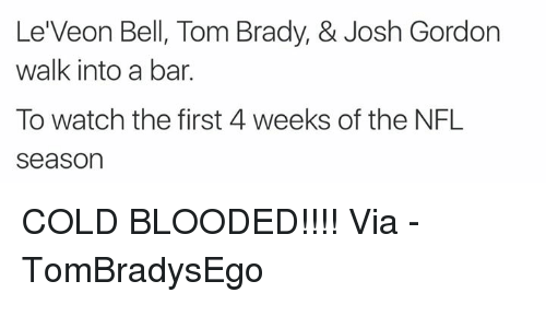 Bloods, Nfl, and Tom Brady: Le Veon Bell, Tom Brady, & Josh Gordon  walk into a bar.  To watch the first 4 weeks of the NFL  Season COLD BLOODED!!!!  Via - TomBradysEgo