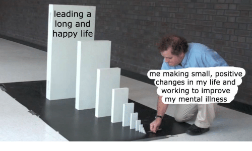 working: leading a  long and  happy life  me making small, positive  changes in my life and  working to improve  my mental illness
