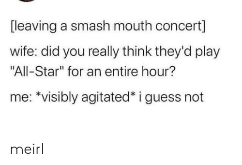 """concert: [leaving a smash mouth concert]  wife: did you really think they'd play  """"All-Star"""" for an entire hour?  me: *visibly agitated* i guess not meirl"""
