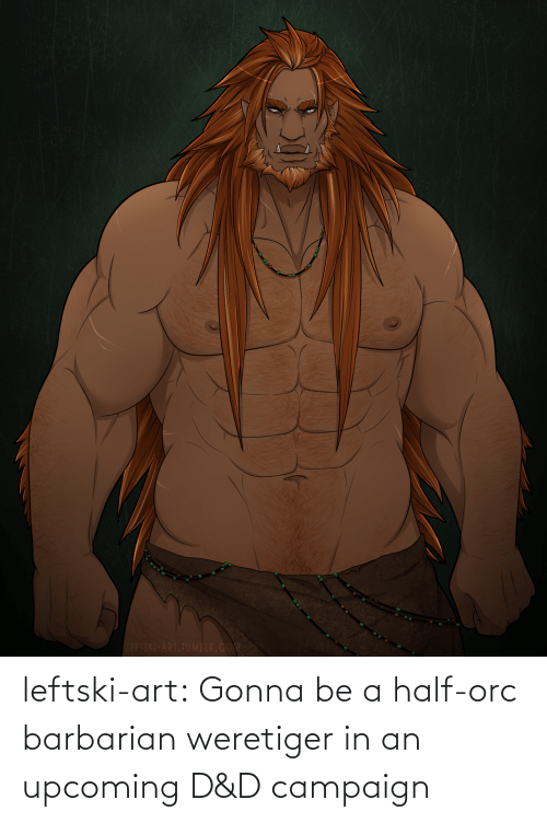Tumblr, Blog, and Art: LEFTSKI-ART.TUMBLR.COM leftski-art:  Gonna be a half-orc barbarian weretiger in an upcoming D&D campaign