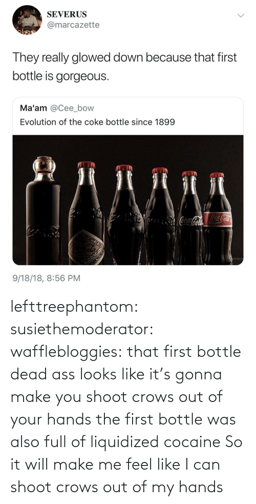 Cocaine: lefttreephantom: susiethemoderator:  wafflebloggies: that first bottle dead ass looks like it's gonna make you shoot crows out of your hands the first bottle was also full of liquidized cocaine   So it will make me feel like I can shoot crows out of my hands