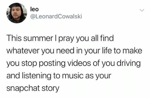 Driving, Life, and Music: leo  @LeonardCowalski  This summer I pray you all find  whatever you need in your life to make  you stop posting videos of you driving  and listening to music as your  snapchat story
