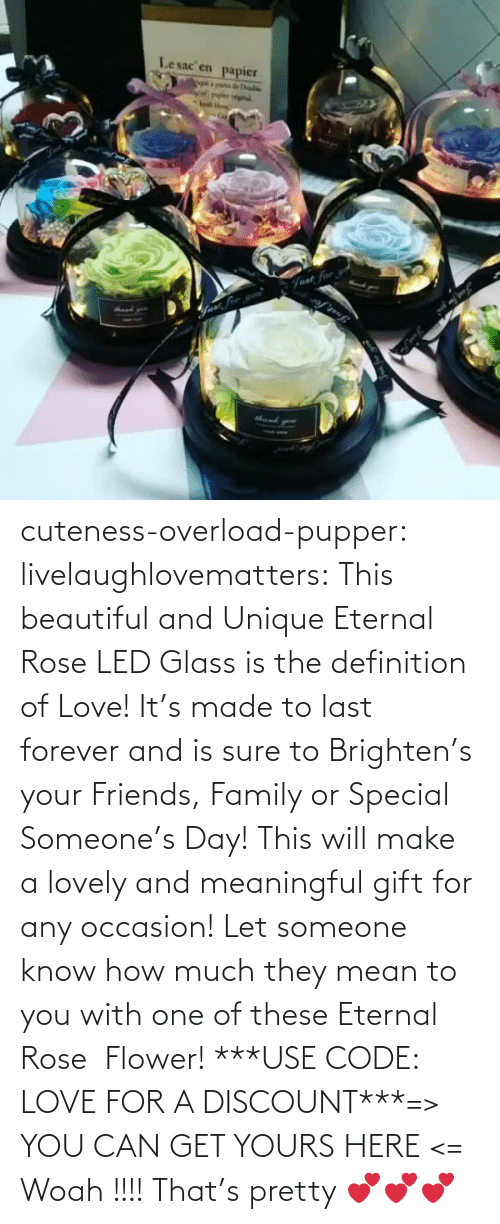 The Definition: Lesac en  papier  halke  Fvat for cuteness-overload-pupper:  livelaughlovematters:  This beautiful and Unique Eternal Rose LED Glass is the definition of Love! It's made to last forever and is sure to Brighten's your Friends, Family or Special Someone's Day! This will make a lovely and meaningful gift for any occasion! Let someone know how much they mean to you with one of these Eternal Rose  Flower! ***USE CODE: LOVE FOR A DISCOUNT***=> YOU CAN GET YOURS HERE <=  Woah !!!! That's pretty 💕💕💕