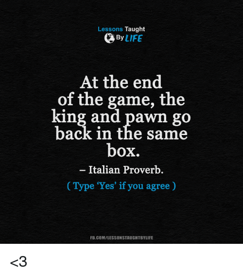 Pawned: Lessons Taught  By  LIFE  At the end  of the game, the  king and pawn go  back in the same  box.  Italian Proverb  Type 'Yes' if you agree)  FB.COM/LESSONSTAUGHTBYLIFE <3