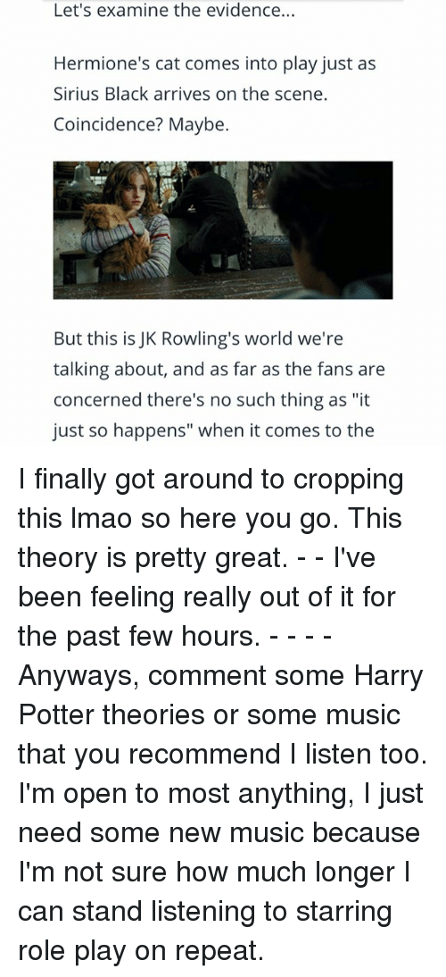 "Repeatingly: Let's examine the evidence...  Hermione's cat comes into play just as  Sirius Black arrives on the scene.  Coincidence? Maybe.  But this is JK Rowling's world we're  talking about, and as far as the fans are  concerned there's no such thing as ""it  just so happens"" when it comes to the I finally got around to cropping this lmao so here you go. This theory is pretty great. - - I've been feeling really out of it for the past few hours. - - - - Anyways, comment some Harry Potter theories or some music that you recommend I listen too. I'm open to most anything, I just need some new music because I'm not sure how much longer I can stand listening to starring role play on repeat."