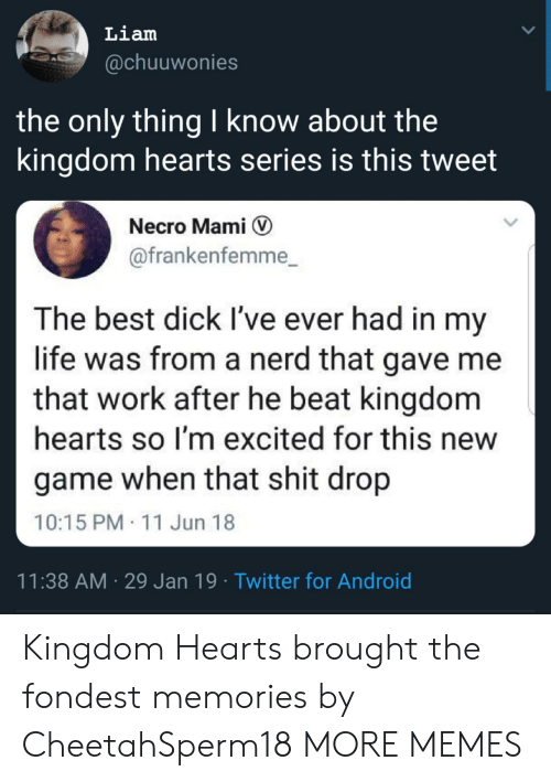 the kingdom: Liam  @chuuwonies  the only thing I know about the  kingdom hearts series is this tweet  Necro Mami V  @frankenfemme_  The best dick I've ever had in my  life was from a nerd that gave me  that work after he beat kingdom  hearts so I'm excited for this new  game when that shit drop  10:15 PM 11 Jun 18  11:38 AM 29 Jan 19 Twitter for Android Kingdom Hearts brought the fondest memories by CheetahSperm18 MORE MEMES
