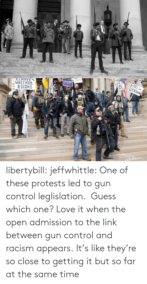 which one: libertybill:  jeffwhittle:  One of these protests led to gun control leglislation.  Guess which one?   Love it when the open admission to the link between gun control and racism appears.   It's like they're so close to getting it but so far at the same time
