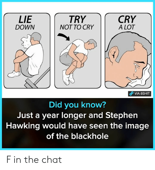 stephen hawking: LIE  DOWN  TRY  NOT TO CRY  CRY  A LOT  Did you know  Just a year longer and Stephen  Hawking would have seen the image  of the blackhole F in the chat