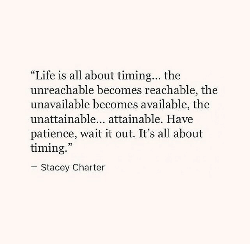 """Patience: """"Life is all about timing... the  unreachable becomes reachable, the  unavailable becomes available, the  unattainable... attainable. Have  patience, wait it out. It's all about  timing.  05  Stacey Charter"""