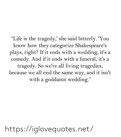 "said: ""Life is the tragedy,' she said bitterly. 'You  know how they categorize Shakespeare's  plays, right? If it ends with a wedding, it's a  comedy. And if it ends with a funeral, it's a  tragedy. So we're all living tragedies,  because we all end the same way, and it isn't  with a goddamn wedding."" https://iglovequotes.net/"