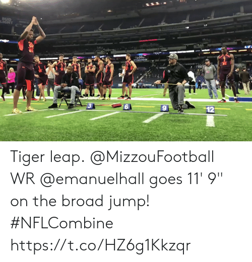 """Memes, Tiger, and 🤖: LIGHT Tiger leap.  @MizzouFootball WR @emanuelhall goes 11' 9"""" on the broad jump! #NFLCombine https://t.co/HZ6g1Kkzqr"""