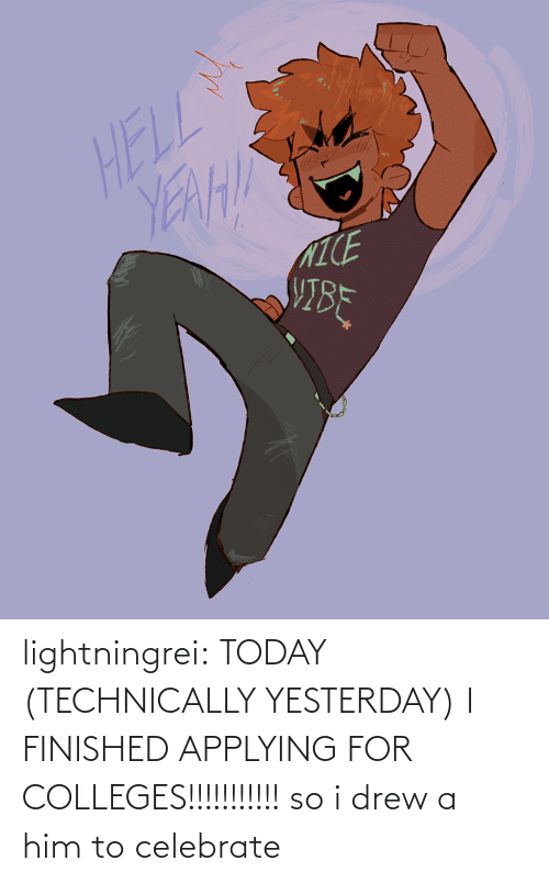 him: lightningrei:  TODAY (TECHNICALLY YESTERDAY) I FINISHED APPLYING FOR COLLEGES!!!!!!!!!!! so i drew a him to celebrate