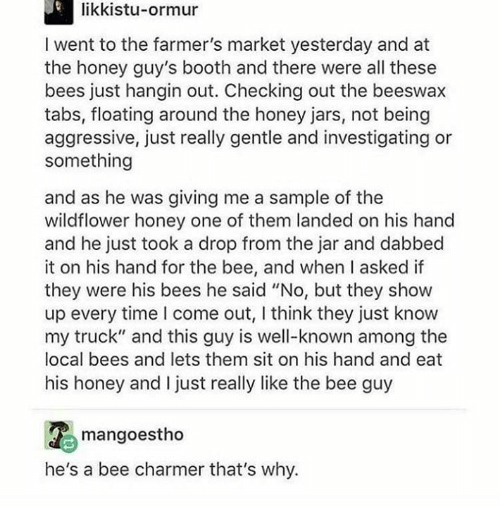"""Dabbed: likkistu-ormur  I went to the farmer's market yesterday and at  the honey guy's booth and there were all these  bees just hangin out. Checking out the beeswax  tabs, floating around the honey jars, not being  aggressive, just really gentle and investigating or  something  and as he was giving me a sample of the  wildflower honey one of them landed on his hand  and he just took a drop from the jar and dabbed  it on his hand for the bee, and when I asked if  they were his bees he said """"No, but they show  up every time I come out, I think they just know  my truck"""" and this guy is well-known among the  local bees and lets them sit on his hand and eat  his honey and I just really like the bee guy  mangoestho  he's a bee charmer that's why."""