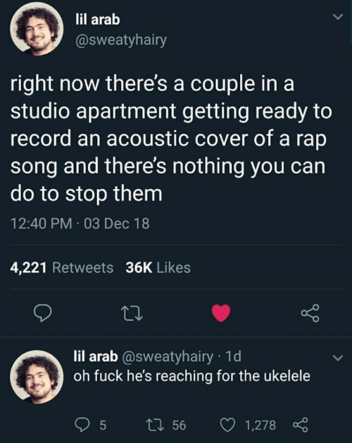 Reaching: lil arab  @sweatyhairy  right now there's a couple in a  studio apartment getting ready to  record an acoustic cover of a rap  song and there's nothing you can  do to stop them  12:40 PM · 03 Dec 18  4,221 Retweets 36K Likes  27  lil arab @sweatyhairy · 1d  oh fuck he's reaching for the ukelele  27 56  1,278