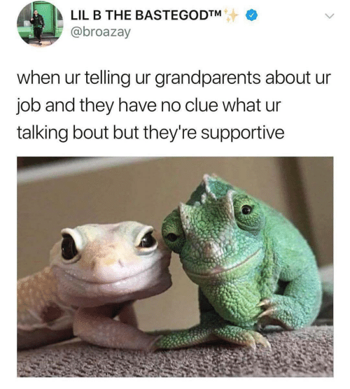 No Clue: LIL B THE BASTEGODTM  @broazay  when ur telling ur grandparents about ur  job and they have no clue what ur  talking bout but they're supportive