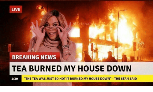 """burned: LIVE  seienalst  BREAKING NEWS  TEA BURNED MY HOUSE DOWN  """"THE TEA WAS JUST SO HOT IT BURNED MY HOUSE DOWN""""  THE STAN SAID  2:30"""