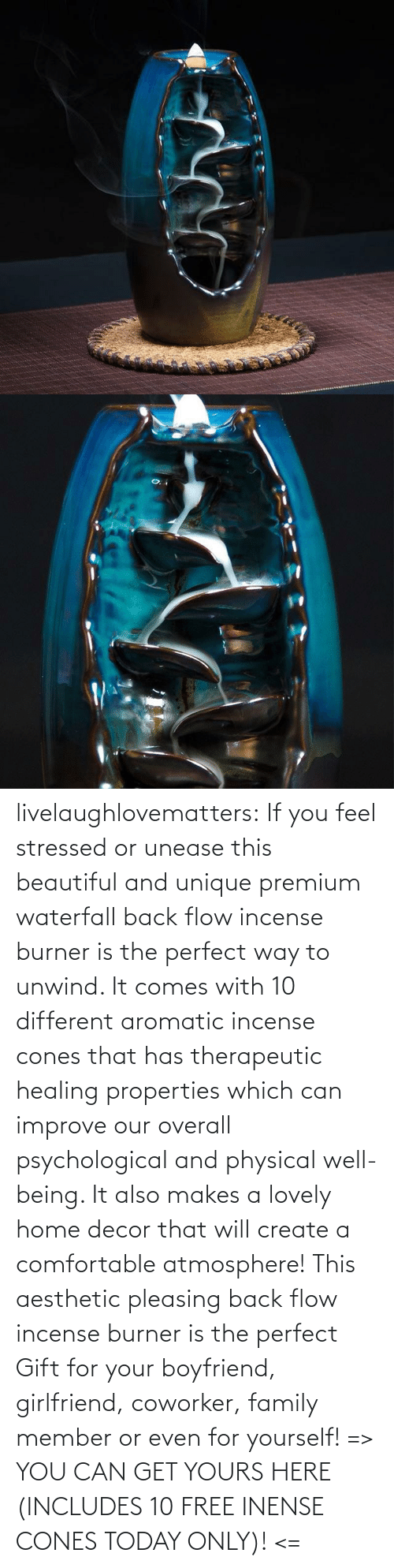 Boyfriend: livelaughlovematters: If you feel stressed or unease this beautiful and unique premium waterfall back flow incense burner is the perfect way to unwind. It comes with 10 different aromatic incense cones that has therapeutic healing properties which can improve our overall psychological and physical well-being. It also makes a lovely home decor that will create a comfortable atmosphere! This aesthetic pleasing back flow incense burner is the perfect Gift for your boyfriend, girlfriend, coworker, family member or even for yourself! => YOU CAN GET YOURS HERE (INCLUDES 10 FREE INENSE CONES TODAY ONLY)! <=