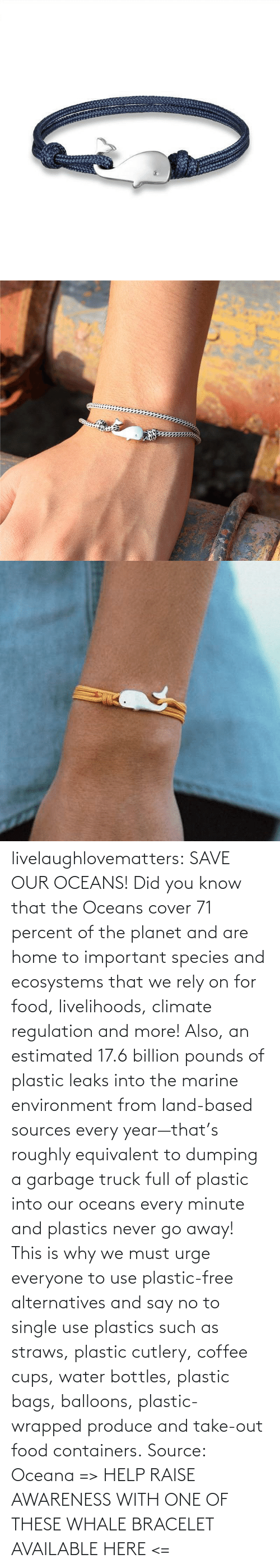 for: livelaughlovematters: SAVE OUR OCEANS!  Did you know that the Oceans cover 71 percent of the planet and are home to important species and ecosystems that we rely on for food, livelihoods, climate regulation and more! Also, an estimated 17.6 billion pounds of plastic leaks into the marine environment from land-based sources every year—that's roughly equivalent to dumping a garbage truck full of plastic into our oceans every minute and plastics never go away! This is why we must urge everyone to use plastic-free alternatives and say no to single use plastics such as straws, plastic cutlery, coffee cups, water bottles, plastic bags, balloons, plastic-wrapped produce and take-out food containers. Source: Oceana => HELP RAISE AWARENESS WITH ONE OF THESE WHALE BRACELET AVAILABLE HERE <=