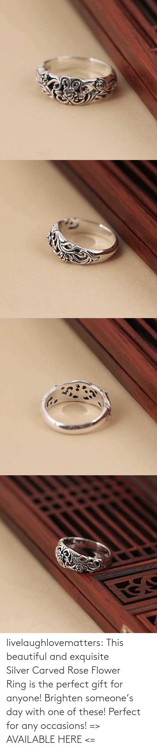 ring: livelaughlovematters: This beautiful and exquisite SilverCarved Rose Flower Ringis the perfect gift for anyone! Brighten someone's day with one of these! Perfect for any occasions!  => AVAILABLE HERE <=