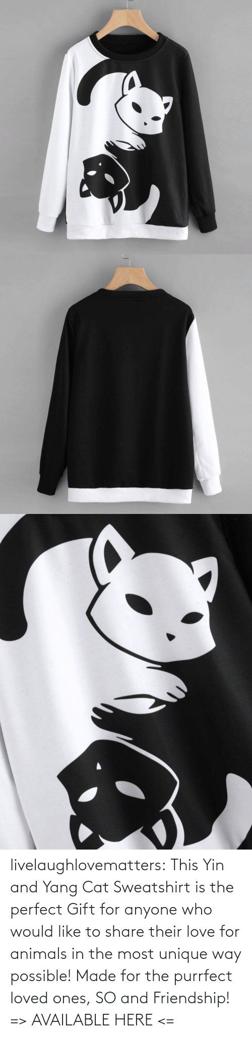 for: livelaughlovematters: This Yin and Yang Cat Sweatshirt is the perfect Gift for anyone who would like to share their love for animals in the most unique way possible! Made for the purrfect loved ones, SO and Friendship!  => AVAILABLE HERE <=