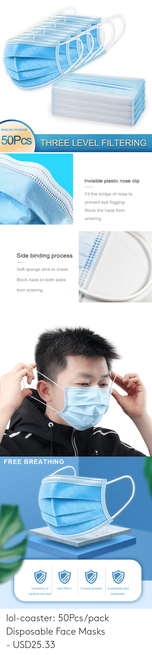 Layers: lol-coaster:  50Pcs/pack Disposable Face Masks - USD25.33