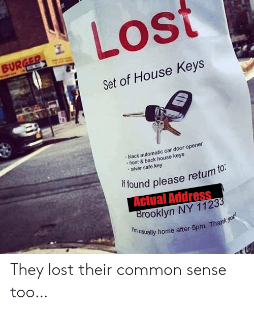 Opener: Lost  BURGER  C  Set of House Keys  black automatic car door opener  front&back house keys  silver safe key  if found please return to:  Actual Address  Brooklyn NY 11233  f'm usually home after 5pm. Thank you They lost their common sense too…