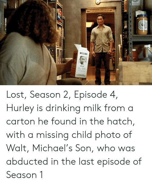 Lost Season 2 Episode 4 Hurley Is Drinking Milk From a