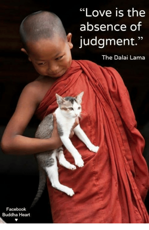 "Facebook, Love, and Memes: ""Love is the  absence of  judgment.""  The Dalai Lama  Facebook  Buddha Heart"