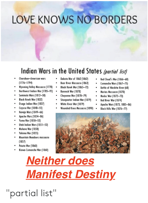 LOVE KNOWS NO BORDERS Indian Wars in the United States